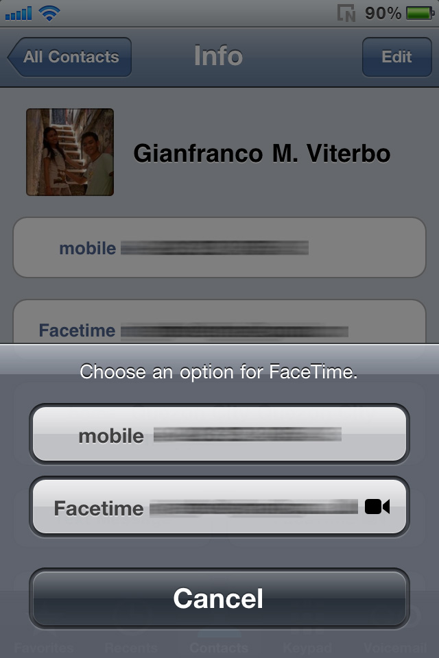 Placing a Facetime call via Contacts