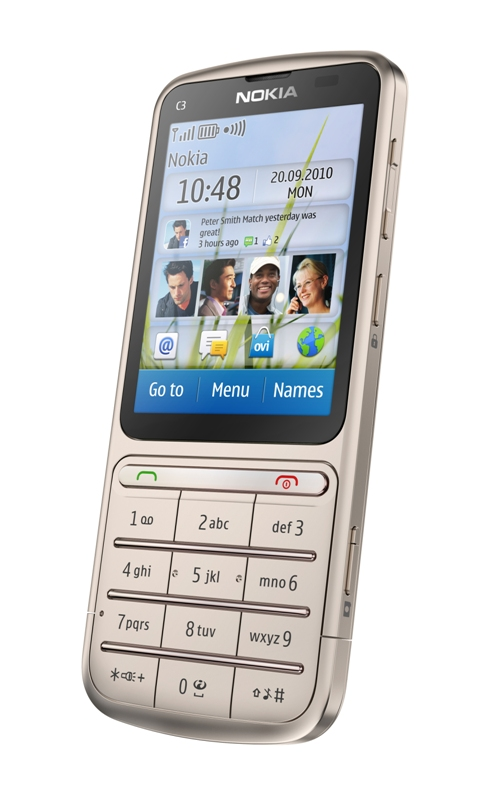 Nokia C3 01 Golden Khaki - Nokia reintroduces its 'Touch and Type' design with the Nokia C3-01 and X3-02
