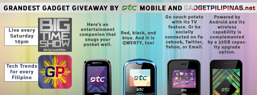 Grandest Gadget Giveaway by DTC Mobile and Gadget Pilipinas