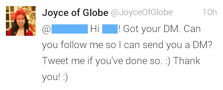 Twitter, GEMS, CSR, Customer Service, Great Customer Service, Excellent Customer Service, Globe Telecom, Go The Extra Mile, Globe Lang Ng Globe, Best Service