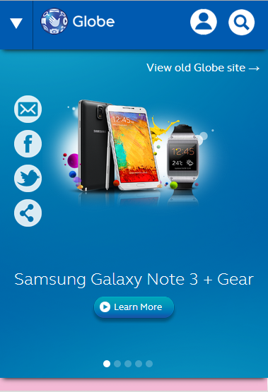 Globe Beta Website's Mobile Look