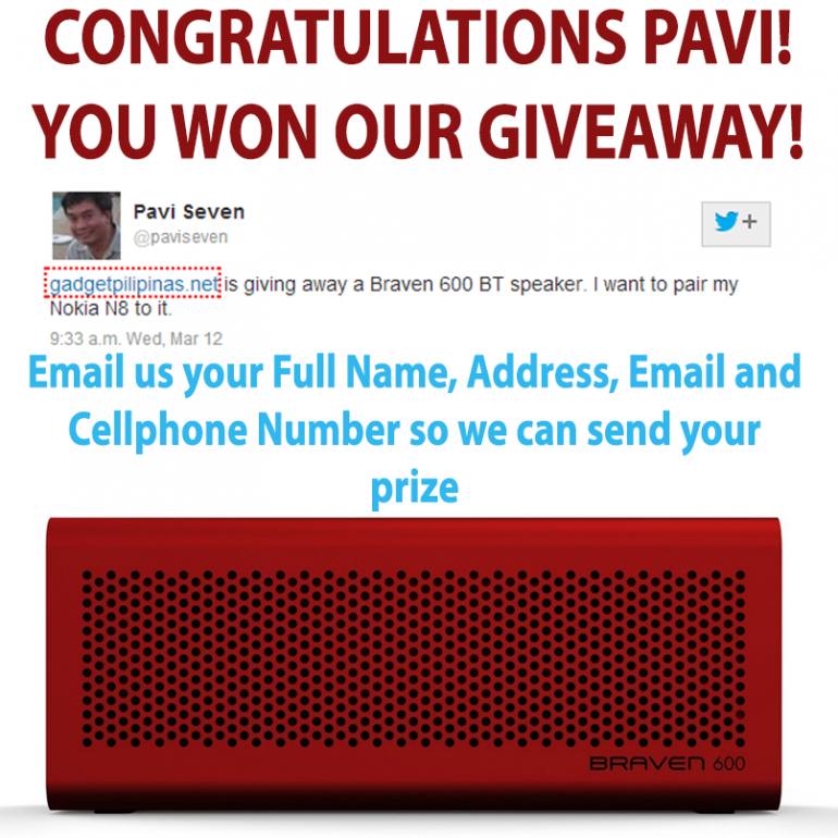cherry mobile rave 2.0, Cherry Mobile Rave 2.0 and Braven 600 Giveaway Winners, Gadget Pilipinas