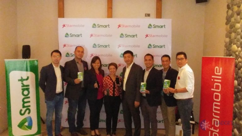 Smart and Starmobile have teamed up to bring the smartphone experience to more Filipinos. IN THE PHOTO (FROM LEFT: Michael Chan (Starmobile Vice Chair and Product Development Head);  Jerry Manus (Starmobile COO);Kathy Carag (VP and Head for Smart Brand and Marketing Communications); Katrina Luna-Abelarde (FVP and Head for Smart Brand and Marketing Communications); Joey Uy (Starmobile Chairman and CEO); Adrian Azana (AVP Smart Prepaid Activations); Joel Lumanlan (VP, Marketing Communicaitons); Jameson Say (Starmobile Sales Director).