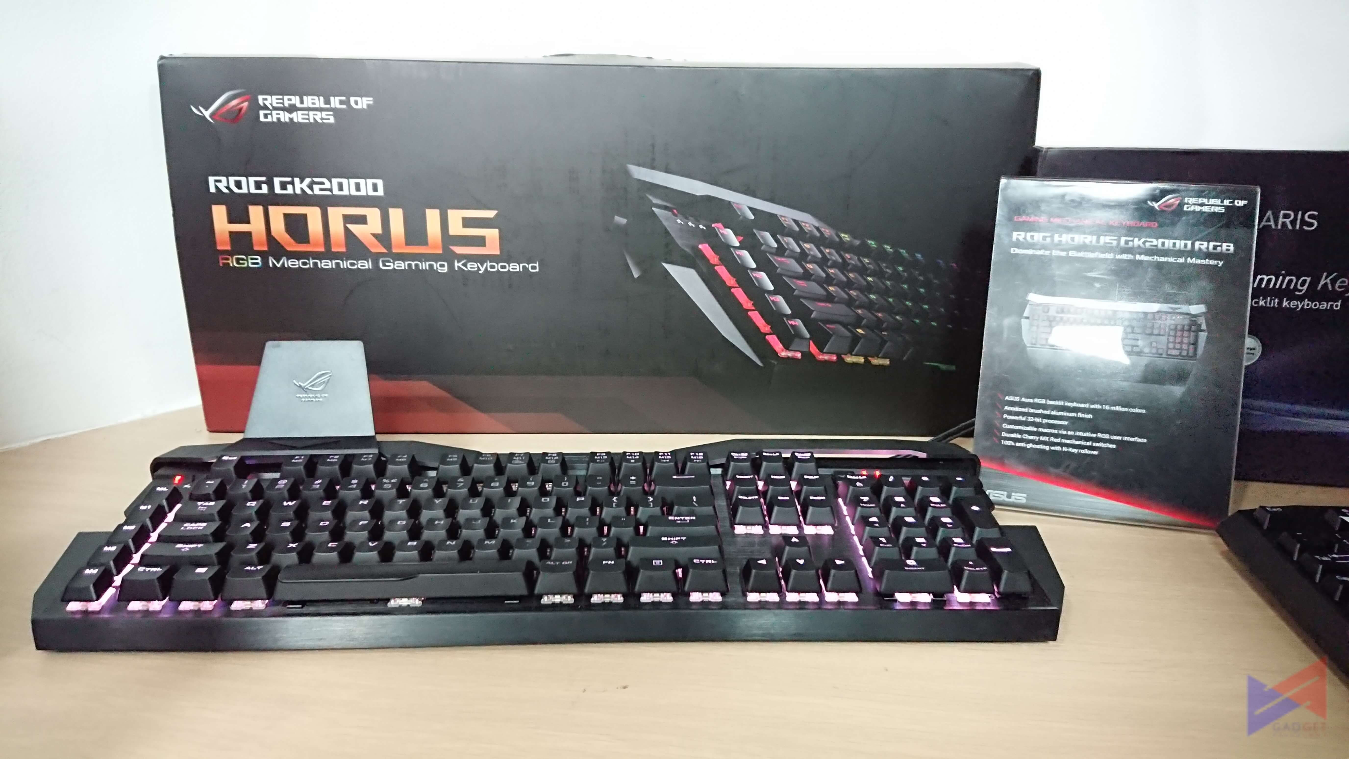 19edc680cc3 For Keyboards, there's the GK2000 ROG Horus with a striking new design, RGB  Lighting, and durable Cherry MX Red switches. The entry-level GK100 Sagaris  on ...