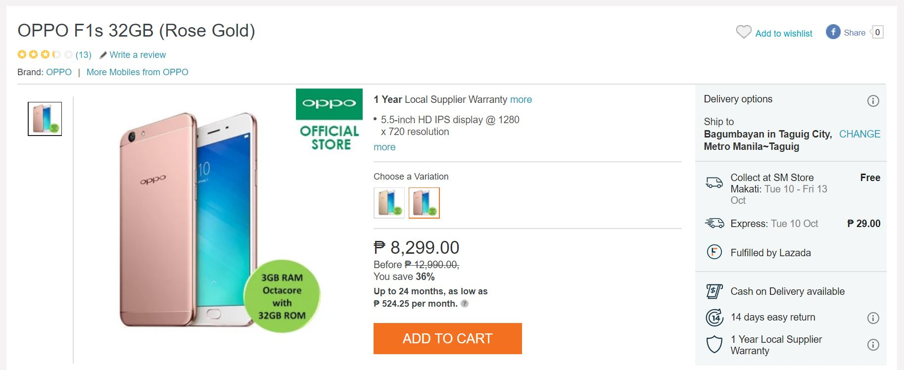 Lazada Sale Alert Oppo F1s At Php8299 Upgraded Php9990 New Php9