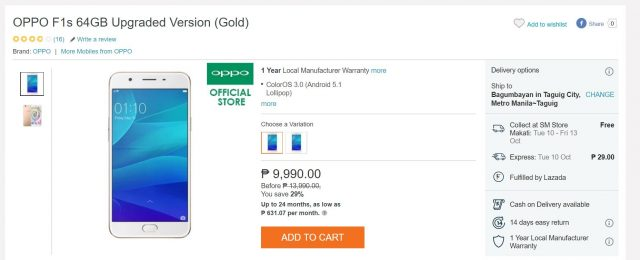 f1s upgraded sale 640x260 - Lazada Sale Alert: OPPO F1s at PhP8,299, F1s Upgraded at PhP9,990