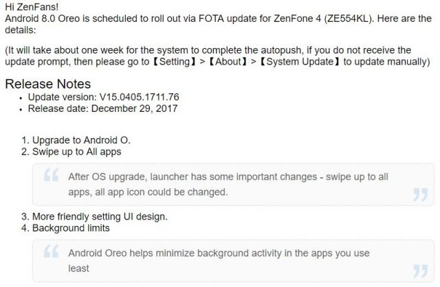 ASUS Rolls Out Android Oreo Update for ZenFone 4