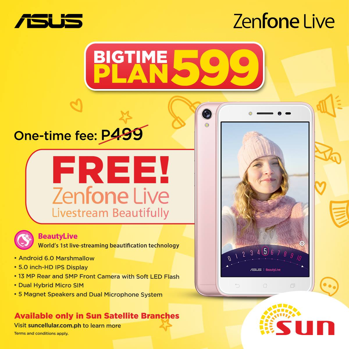 Zenfone live now free at sun bigtime plan 599 gadget for Sun mobile plan