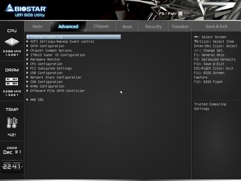 Biostar B550MH Motherboard Review - BIOS 02
